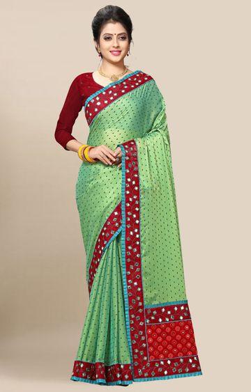 SATIMA | Green Embroidery Georgette Saree
