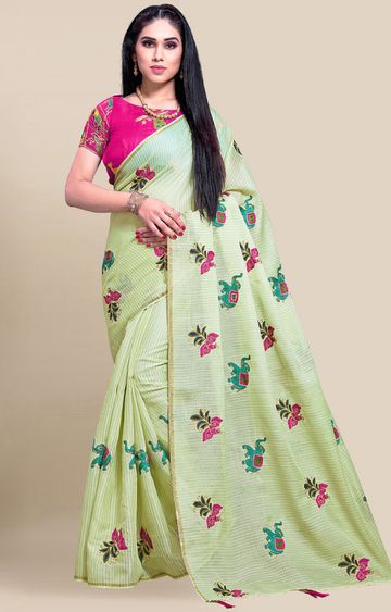 SATIMA | Olive Green Embroidery Cotton Linen Solid Saree
