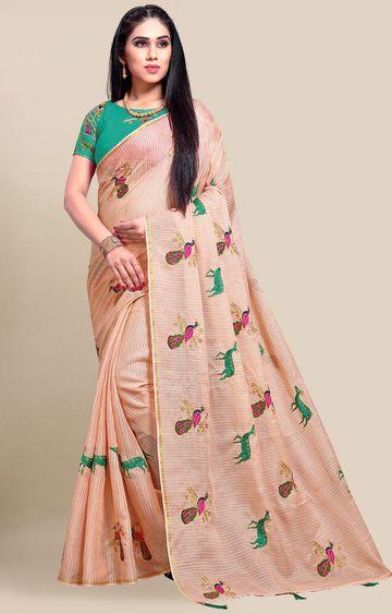 SATIMA | Orange Embroidery Cotton Linen Solid Saree