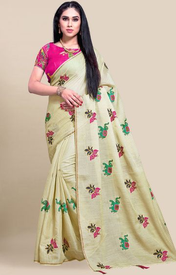 SATIMA | Yellow Embroidery Cotton Linen Solid Saree
