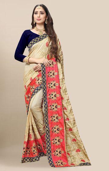 SATIMA | Embroidered Cream Silk Blend Pochampally Leheriya Saree