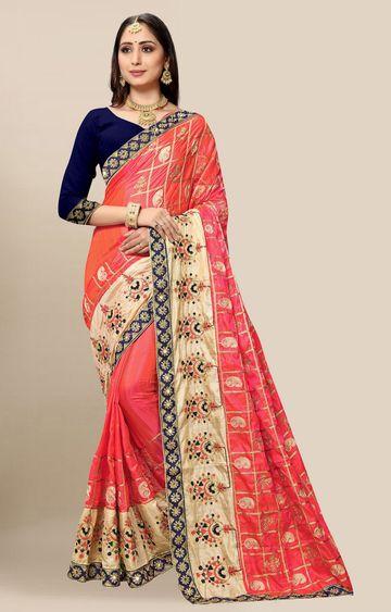 SATIMA | Embroidered Gajari Silk Blend Pochampally Leheriya Saree