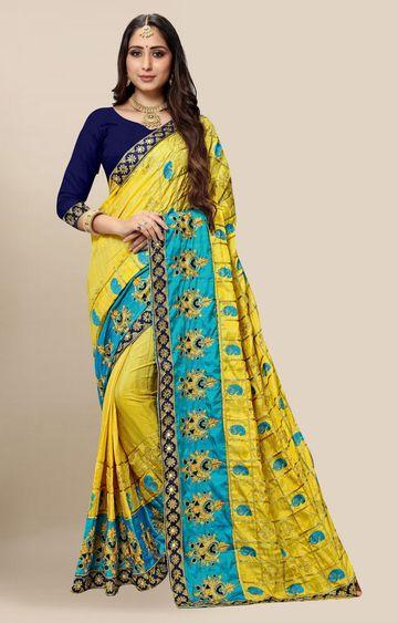 SATIMA   Embroidered Yellow Silk Blend Pochampally Leheriya Saree