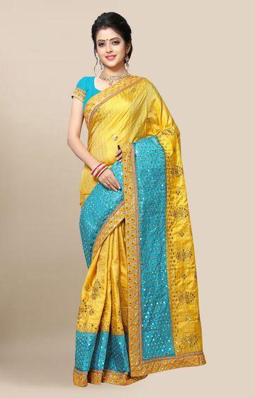 SATIMA   Designer Yellow Color Embroidered Silk Blend Saree