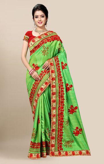 SATIMA | Designer Green Silk Blend Embroidered Saree
