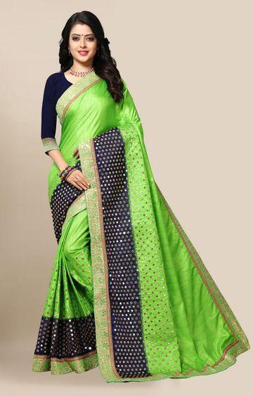 SATIMA | Elegant Green Silk Blend Embroidered Saree