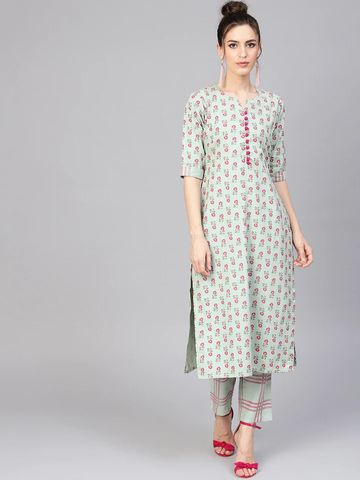 GAYRAA | Printed straight green kurta with pant