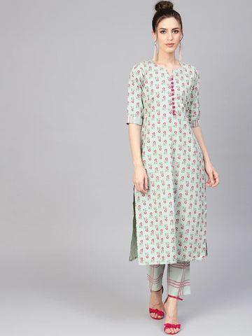 GAYRAA | Printed straight green kurta with pant