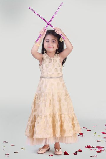 MINI CHIC | Beige Tier Party Gown for Girls