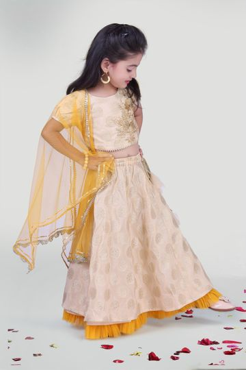 MINI CHIC | Offwhite Skirt and Choli Set with Dupatta for Girls