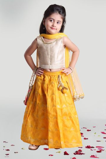 MINI CHIC | Pleated Skirt and Choli Set for Girls with Dupatta