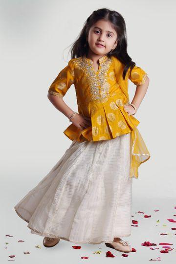 MINI CHIC | Chanderi Skirt and choli set with dupatta for girls