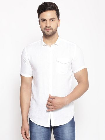 Showoff | SHOWOFF Men's  Lenin  White Solid Slim Fit Shirt