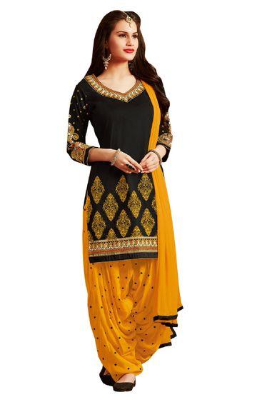 SATIMA   Black Pure Cotton Dress Material