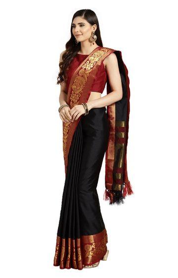 SATIMA | Black Silk Blend Woven And Tassels Saree