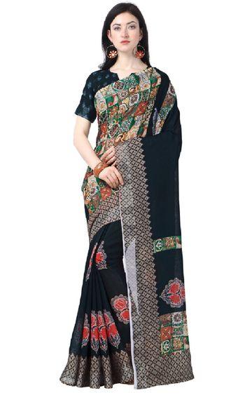 SATIMA | Nevy Linen Cotton Bagru Print Saree