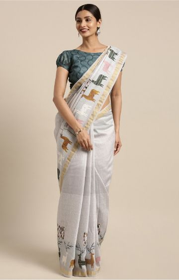 SATIMA | Grey and Multi Linen Cotton Animal Print Saree