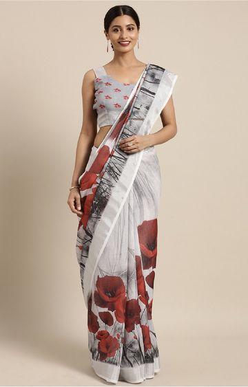 SATIMA | Grey and Multi Linen Cotton Floral Print Saree