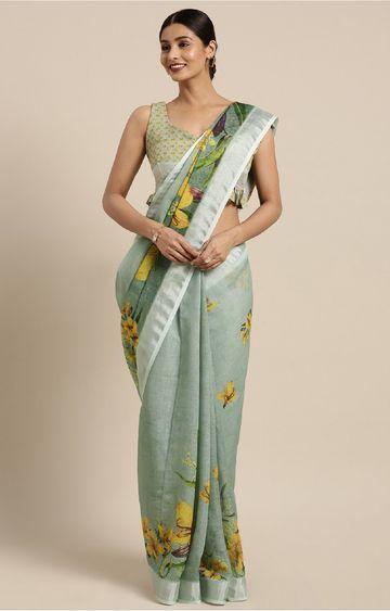 SATIMA | and Multi Linen Cotton Floral Print Saree