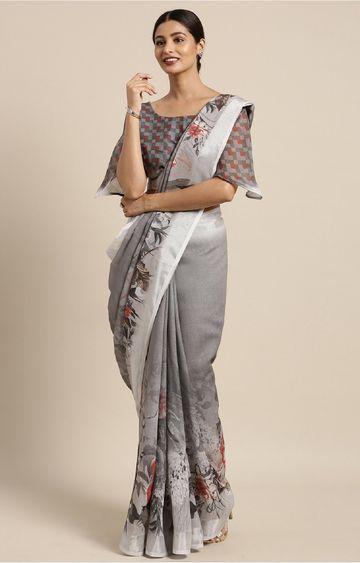 SATIMA | Grey and Multi Linen Cotton Floral Print with Zari