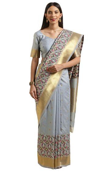 SATIMA | Grey and Multi Silk Blend Woven Zari Saree