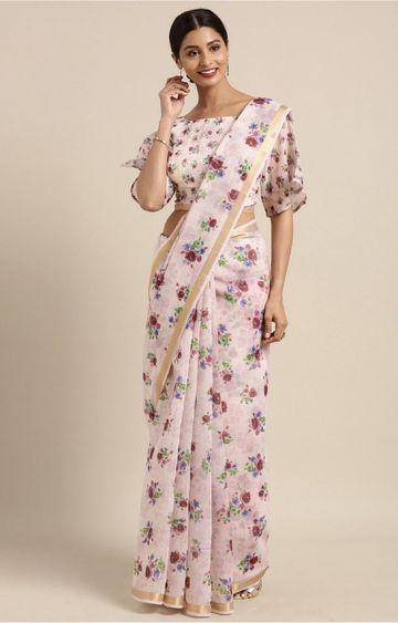 SATIMA | Pink and Multi Chandari Cotton Floral Print with Zari