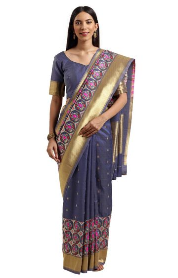 SATIMA | Navy and Multi Silk Blend Woven Zari Saree