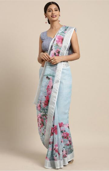 SATIMA | Multi Linen Cotton Floral Print with Zari