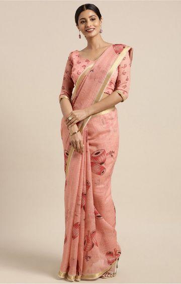 SATIMA | Red and Multi Linen Cotton Ethnic Motif Saree