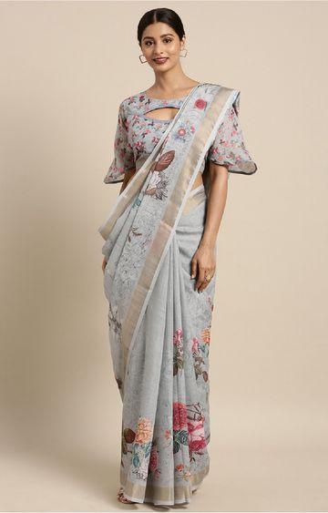 SATIMA   Cyan and Multi Linen Cotton Floral Print with Zari