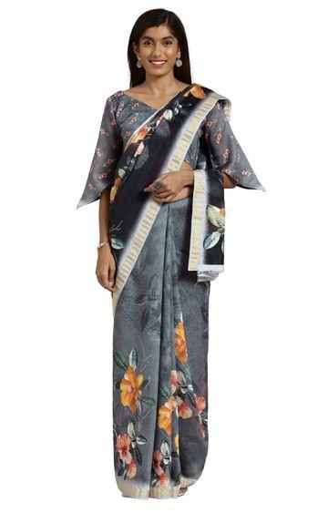 SATIMA | Black Cotton Floral Print and Zari Saree