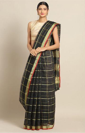 SATIMA | Black Cotton Silk Weaving Saree