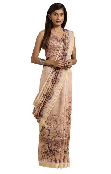 SATIMA | Brown Cotton Blend Floral Print with Zari Border