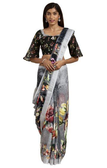 SATIMA | Black Linen Floral Print and Zari Saree