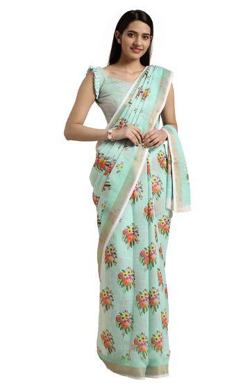SATIMA | Cotton Blend Floral Digital Print Saree