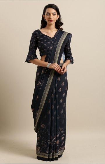 SATIMA | Black Cotton Silk Digital Print Saree