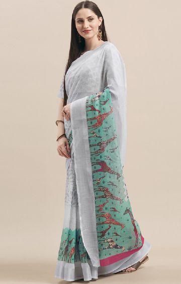 SATIMA | Grey Cotton Blend Animal Print with Zari Border