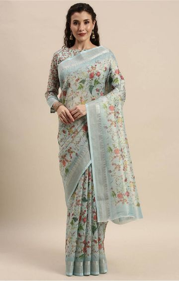 SATIMA | Blue Digital Floral Print Woven Saree