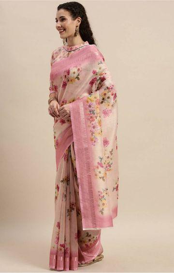 SATIMA | Pink Digital Floral Print Woven Saree