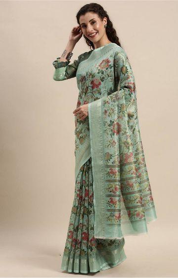 SATIMA | Green Digital Floral Print Woven Saree