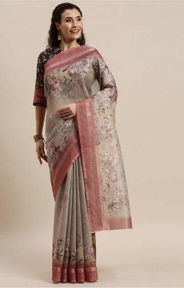 SATIMA | Beige Digital Floral Print Woven Saree