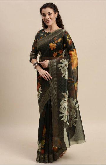 SATIMA | Black Digital Floral Print Woven Saree
