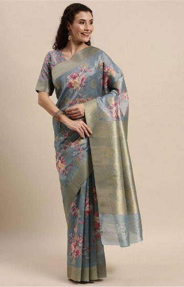 SATIMA | Grey Digital Floral Print Woven Saree