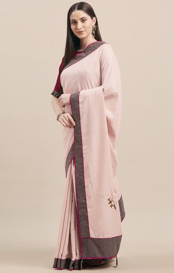 SATIMA | Pinkruby Silk Embroidery with Printed Border