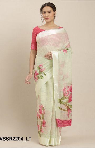 SATIMA | Yellow Linen Cotton Floral Print, Satin Border