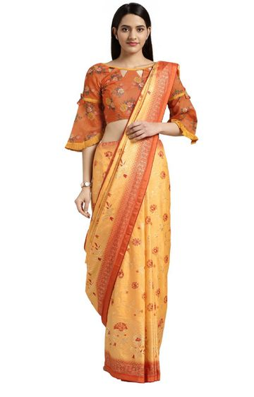 SATIMA   Yellow Silk Blend Floral Print with Foil Work