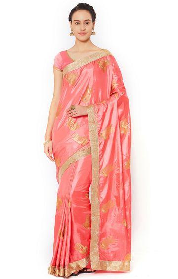 SATIMA | Pink Silk Blend Zari Work Saree