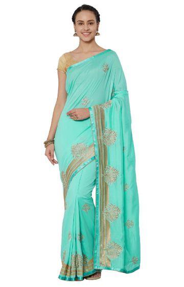 SATIMA   Cyan Georgette Zari Embroidery Saree