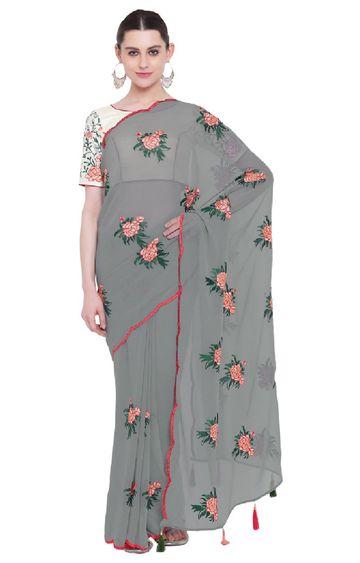 SATIMA | Grey Georgette Embroidery Saree