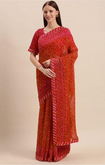 SATIMA | Red Georgette Bandhani Print and Gotapatti Saree